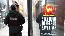 PSNI officers on foot patrol in Belfast City Centre reminding the public to Stay Safe and where possible to stay at home during the current phase of the Coronavirus outbreak. Photo Stephen Davison/Pacemaker Press