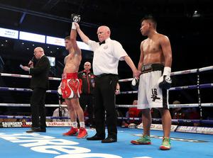Press Eye - Belfast -  Northern Ireland - 21st April 2018 - Photo by William Cherry/Presseye  Marco McCullough defeats Arnoldo Solano during Saturday nights super featherweight contest at the SSE Arena, Belfast