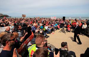 Labour leader Jeremy Corbyn speaking at an event on the Promenade in Colwyn Bay, Wales, while on the General Election campaign trail. PRESS ASSOCIATION Photo. Picture date: Tuesday June 6, 2017. See PA story ELECTION Main. Photo credit should read: Peter Byrne/PA Wire