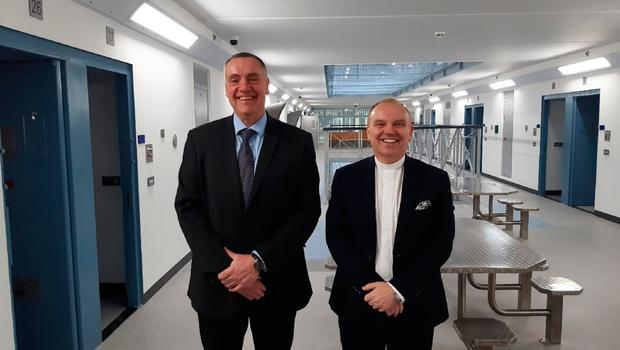 Presbyterian Moderator Dr William Henry with prison governor, David Kennedy, in Maghaberrys new Davis House.