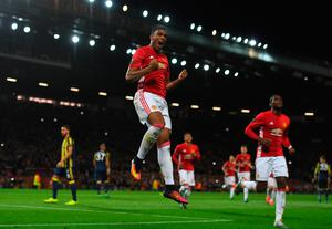 MANCHESTER, ENGLAND - OCTOBER 20:  Anthony Martial of Manchester United after scoring his team's second goal from the penalty spot during the UEFA Europa League Group A match between Manchester United FC and Fenerbahce SK at Old Trafford on October 20, 2016 in Manchester, England.  (Photo by Laurence Griffiths/Getty Images)