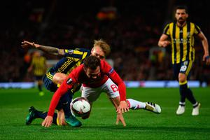 MANCHESTER, ENGLAND - OCTOBER 20:  Juan Mata of Manchester United wins a penalty as he is brought down by Simon Kjaer of Fenerbahce during the UEFA Europa League Group A match between Manchester United FC and Fenerbahce SK at Old Trafford on October 20, 2016 in Manchester, England.  (Photo by Laurence Griffiths/Getty Images)