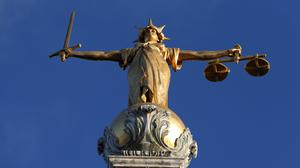 The defendant joined an Old Bailey Skype hearing from Leicester Crown Court to be sentenced (PA)