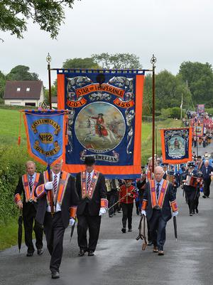 PACEMAKER BELFAST  13/07/2015:  Thousands of Orange Order members are taking part in parades across Northern Ireland. The parades mark the 325th anniversary of King William III's victory at the Battle of the Boyne in 1690. Bands pictured at the Twelfth celebrations in Saintfield.  Photo Arthur Allison/Pacemaker Press