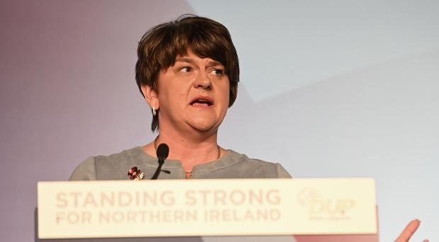 Party Leader Arlene Foster pictured speaking at the 2019 DUP Annual Conference at the Crowne Plaza Hotel in Belfast on Saturday. Pic Colm Lenaghan/Pacemaker