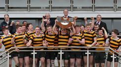 Victory roar: Inst lift their third consecutive Medallion Shield at the Kingspan Stadium
