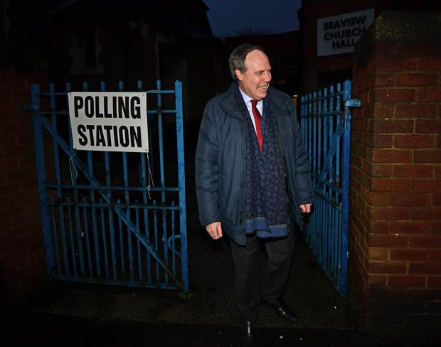 DUP deputy leader Nigel Dodds at Seaview Church Hall polling station on the Shore Road in Belfast. Pic Colm Lenaghan/Pacemaker