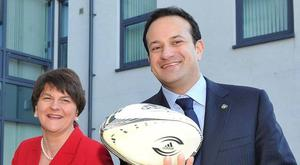 Arlene Foster pictured with Leo Varadkar in 2014 when the two ministers met to discuss a bid to host the 2023 Rugby World Cup bid