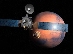 Undated handout artist's impression issued by the European Space Agency of the separation of the ExoMars 2016 entry, descent and landing demonstrator module, named Schiaparelli, from the Trace Gas Orbiter. PA