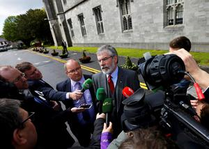 Sinn Fein president Gerry Adams speaks to the media as he arrives at the National University of Ireland on May 19, 2015 in Galway, Ireland. The Prince of Wales and Duchess of Cornwall arrived in Ireland today for their four day visit to the Republic and Northern Ireland, the visit has been described by the British Embassy as another important step in promoting peace and reconciliation. (Photo by Darren Staples - WPA Pool/Getty Images)