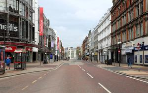An empty Royal Avenue in Belfast city centre during lockdown