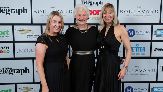 Press Eye - Belfast - Northern Ireland - 20th January  2020   Cathy Gibson, Lady Mary Peters and Gillian Hetherington pictured at the 2019 Belfast Telegraph Sport Awards at the Crowne Plaza Hotel in Belfast.  Photo by Kelvin Boyes / Press Eye.