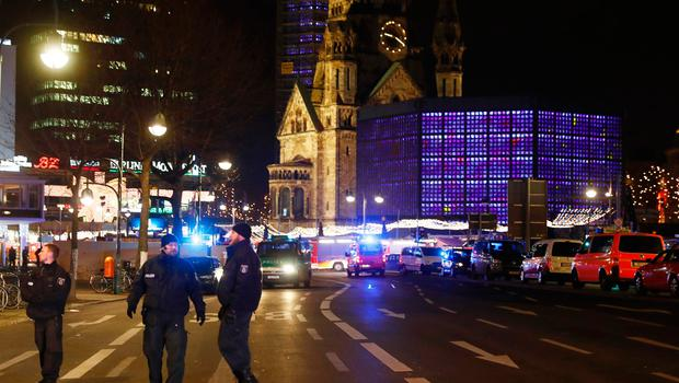 Police blocks a road leading to a scene next to the Gedächniskirche church where a truck crashed into a christmas market in Berlin, on December 19, 2016 killing at least nine people and injuring at least 50 people. / AFP PHOTO / Odd ANDERSENODD ANDERSEN/AFP/Getty Images
