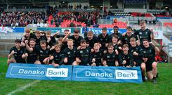 Final call: Campbell College players celebrate after beating Royal School Armagh