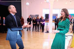 The Duke and Duchess of Cambridge juggling during a special event at the Tribeton restaurant in Galway to look ahead to the city hosting the European Capital of Culture in 2020. PA Photo. Picture date: Thursday March 5, 2020. See PA story ROYAL Cambridge. Photo credit should read: Brian Lawless/PA Wire