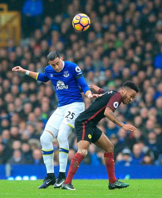 "Everton's Ramiro Funes Mori (left) and Manchester City's Raheem Sterling battle for the ball during the Premier League match at Goodison Park, Liverpool. PRESS ASSOCIATION Photo. Picture date: Sunday January 15, 2017. See PA story SOCCER Everton. Photo credit should read: Peter Byrne/PA Wire. RESTRICTIONS: EDITORIAL USE ONLY No use with unauthorised audio, video, data, fixture lists, club/league logos or ""live"" services. Online in-match use limited to 75 images, no video emulation. No use in betting, games or single club/league/player publications."
