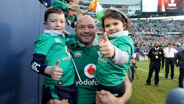 Rory Best with son Ben and daughter Poppy