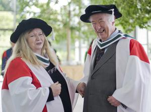File Pics Seamus Heaney Has Died Today.16/06/2011. Seamus Heaney receives Ulysses medal. Nobel Laureate, Poet, Seamus Heaney (right) with poet Nuala Ni Dhomhnaill in the grounds of University College Dublin (UCD) where he was presented with the Ulysses medal, the highest honor that the university can bestow. Ni Dhomhnall was awarded an Honorary Degree of Doctor of Literature. June the 16th is Bloomsday and the most important honours day at UCD, where Joyce completed his Bachelor of Arts in 1902. Photo: Laura Hutton/Photocall Ireland