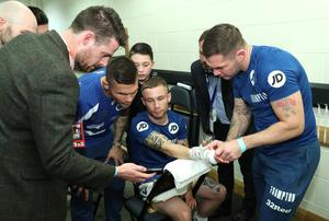 Carl Frampton gets his hands strapped before his bout with Nonito Donaire for the WBO interim featherweight title at the SSE Arena, Belfast on Saturday night.