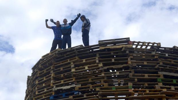 Preparations get underway at the Bonfire in Lanark Way in Belfast,  ahead of the 12th of July annual Orange celebrations Pacemaker Press 7/7/2014