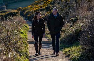 The Duke and Duchess of Cambridge on the cliff walk during a visit to Howth Head in Co. Dublin, as part of their three day visit to the Republic of Ireland. PA Photo. Picture date: Wednesday March 4, 2020. See PA story ROYAL Cambridge. Photo credit should read: Brian Lawless/PA Wire