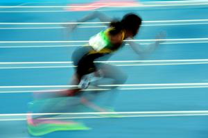 RIO DE JANEIRO, BRAZIL - AUGUST 14:  Shericka Jackson of Jamaica competes in the Women's 400 meter semifinal on Day 9 of the Rio 2016 Olympic Games at the Olympic Stadium on August 14, 2016 in Rio de Janeiro, Brazil.  (Photo by Harry How/Getty Images)