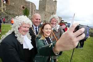Press Eye - Belfast - Northern Ireland  - 13th July 2017 -   Paul Reid, Mayor of Mid and East Antrim. Deputy Mayor Cheryl Johnston, David Hilditch MLA and Terry Clements take part in the re-enactment of the Siege of Carrickfergus Castle and the landing of King William at Castle Green, Carrickfergus. The event included re-enactment groups from across the Northern Oteland, all dressed in period costume followed by a Pageantry parade to meet King William upon his landing at Carrick Harbour.Ê  Photo by Kelvin Boyes / Press Eye.