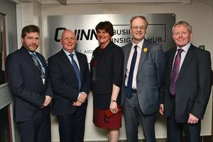 Quinn Director Kevin Lunney, Pat McTeggart (Principal) , First Minister Arlene Foster , Education Minister Peter Weir  and Pat Rooney (St Aidan's)  at the launch of the new Strategic Business Insights Partnership between Quinn Industrial Holdings and St. Aidan's High School in Derrylin. Credit: Colm Lenaghan/Pacemaker