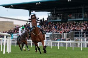 Northern Ireland Festival of Racing at Down Royal Racecourse - Day 1 Race 6 (3:45) Robinson Services Handicap Chase   Winner, Eddie O'Connell on Decade Player takes control from the start
