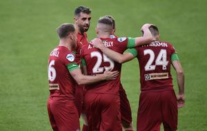 PACEMAKER BELFAST  27/07/20 Cliftonville  v Glentoran Irish Cup  Semi Final Cliftonville's  Joe Gormley scores   during this evening's game at The National Football Stadium at Windsor Park in Belfast on Monday. Photo Colm Lenaghan/Pacemaker Press