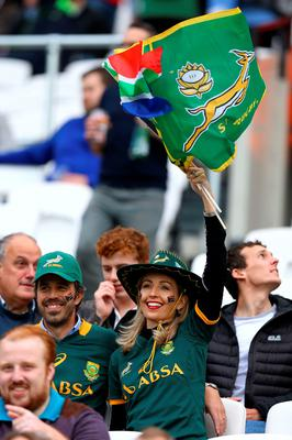 A South Africa fan shows her support in the stands before the World Cup match at the Olympic Stadium, London. PRESS ASSOCIATION Photo. Picture date: Wednesday October 7, 2015. See PA story RUGBYU South Africa. Photo credit should read: Gareth Fuller/PA Wire. RESTRICTIONS: Editorial use only. Strictly no commercial use or association without RWCL permission. Still image use only. Use implies acceptance of Section 6 of RWC 2015 T&Cs at: http://bit.ly/1MPElTL Call +44 (0)1158 447447 for further info.
