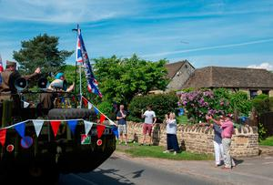 A restored Second World War amphibious DUKW vehicle drives through Helpston near Peterborough, to mark the 75th anniversary of VE Day. PA Photo. Picture date: Friday May 8, 2020. See PA story MEMORIAL VEDay. Photo credit should read: Joe Giddens/PA Wire