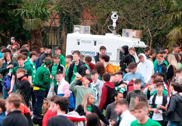 Gathering: Crowds of young people in Botanic Gardens on Wednesday are asked to leave by the PSNI