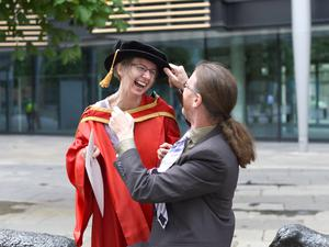 Graduating from Ulster University today Lesley Dornan with husband Andrew, Belfast pic by Harrison Photography
