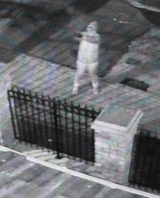 PACEMAKER BELFAST  11/01/2019 CCTV of a gun man  involved in  a gun attack on the Sinn Fein constituency office at  Monaghan Crescent in. Turf Lodge Belfast, West Belfast.  Pic  Pacemaker