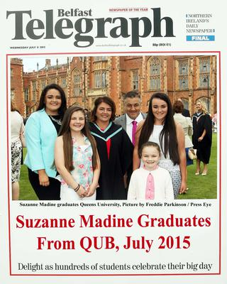 Mandatory Credit - Picture by Freddie Parkinson/Press Eye ? Wednesday 8th July 2015 Graduations Queen University Belfast. Suzanne Madine from Ballynahinch graduated at Queens University Belfast in Special Patrice Cardiology.
