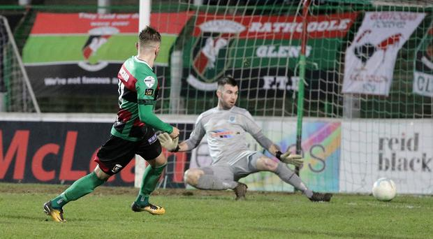 Glentoran's Robbie McDaid punished Ballymena's stand-in stopper for an ironic error. Photo by David Maginnis/Pacemaker Press