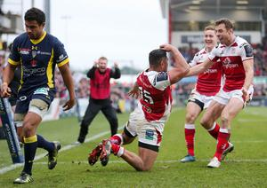 10 December 2016 - Picture by Darren Kidd / Press Eye.    Champions Cup, Ulster v Clermont at the KIngspan Stadium, Belfast.  Ulster's CharlesÊPiutau celebrates with Tommy Bowe and Paddy Jackson