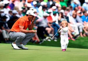US golfer Brandt Snedeker's son Austin follows his father to the 9th green during the Par 3 contest prior to the start of the 80th Masters of Tournament at the Augusta National Golf Club on April 6, 2016, in Augusta, Georgia. / AFP PHOTO / Jim WatsonJIM WATSON/AFP/Getty Images