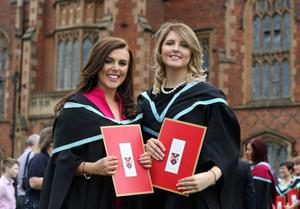 Lucinda Bell from Armagh and Emma Burney from Portadown who graduated with BEd degree in Primary Teaching from Queen's University.