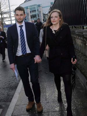Pacemaker Press 26/3/2015 Daniel McArthur (General manager at Ashers Bakery) arrives at Laganside Court in Belfast with his wife Amy  on thursday, Ashers  face a discrimination case supported by the Equality Commission, after a  dispute began when the Christian-run bakery refused a request to make a cake with a pro-gay marriage slogan. Pic Colm Lenaghan/Pacemaker