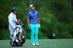 AUGUSTA, GEORGIA - APRIL 07:  Danny Lee of New Zealand and caddie Mike Hartford stand on the fifth hole during the first round of the 2016 Masters Tournament at Augusta National Golf Club on April 7, 2016 in Augusta, Georgia.  (Photo by David Cannon/Getty Images)
