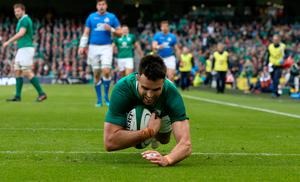 Ireland's Conor Murray dives in to score his sides second try during the NatWest 6 Nations match at the Aviva Stadium, Dublin. PRESS ASSOCIATION Photo. Picture date: Saturday February 10, 2018. See PA story RUGBYU Ireland. Photo credit should read: Brian Lawless/PA Wire. RESTRICTIONS APPLY: Editorial use only. No commercial or promotional use without prior consent from IRFU. No alterations or doctoring.