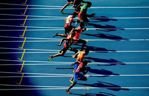 RIO DE JANEIRO, BRAZIL - AUGUST 17:  A view of competitors during the Men's Decathlon 100m - Heat 1 on Day 12 of the Rio 2016 Olympic Games at the Olympic Stadium on August 17, 2016 in Rio de Janeiro, Brazil.  (Photo by Matthias Hangst/Getty Images) *** BESTPIX ***