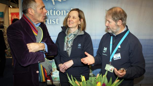 Mandatory Credit - Picture by Freddie Parkinson © Friday 18 January 2019 Belfast Telegraph Holiday World Show, Titanic Exhibition Centre, Belfast. Paul Martin with Kirsty Brown and Graham Neill of the NationalTrust