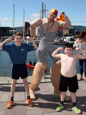 Press Eye © Belfast - Northern Ireland Photo by Freddie Parkinson / Press Eye © Sunday 18th June 2017 The Belfast Titanic Maritime Festival returns once again with a weekend of maritime-themed family fun, food and frolics. Declan McFerran (13) and Shane McFerran froom Toombe with the Beach Patrol