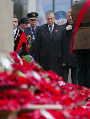 First Minister Peter Robinson during Remembrance Sunday wreath laying at the Cenotaph in the grounds of Belfast City Hall. (Photo by Kevin Scott / Presseye)