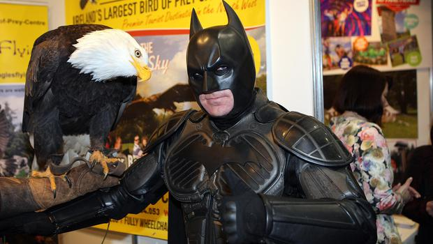 Mandatory Credit - Picture by Freddie Parkinson © Friday 18 January 2019 Belfast Telegraph Holiday World Show, Titanic Exhibition Centre, Belfast.  Alaska 20 year old Bald Eagle and Batman