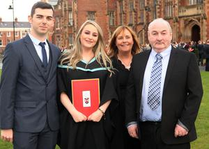 Mandatory Credit - Picture by Freddie Parkinson/Press Eye © Thursday 8th December 2016 Graduations take place at Queens University in Belfast. Alison Stewart and her family from Belfast