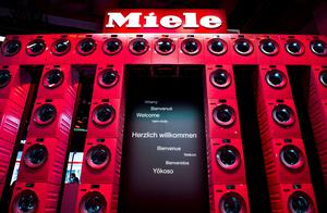 Washing machines are stacked up under the logo of German domestic and commercial equipment manufacturer Miele ate the company's booth ahead of the opening of the 55th IFA (Internationale Funkausstellung), on September 2, 2015 in Berlin. IFA, one of the world's biggest consumer electronics shows, opens for the media before the public is invited from September 4 to 9. AFP PHOTO / JOHN MACDOUGALLJOHN MACDOUGALL/AFP/Getty Images